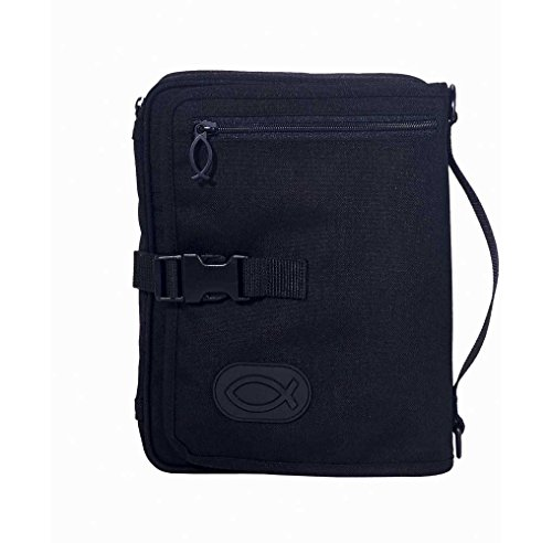Nylon Bible Cover - Black Ultimate Travel Organizer Zipper Pocket Nylon Bible Cover with Handle, Large