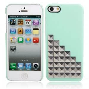 Silver Stairs Pattern Plastic Case for iPhone 5/5S Green