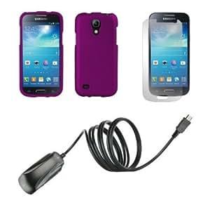 Quaroth Samsung Galaxy S4 Mini - Premium Bundle Pack - Dark Purple Protective Hard Shell Cover Shield Case + ATOM LED...