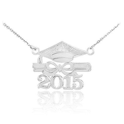 """14 ct 585/1000 Or Blanc """"Classe de 2015"""" Graduation -Pendentif Collier"""