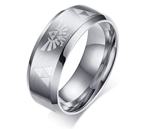LMXXV Legend of Zelda Triforce Stainless Steel Beveled Edge Engagement Rings Wedding Brands,Silver,Size 10 (Triforce Mens Wedding Band)