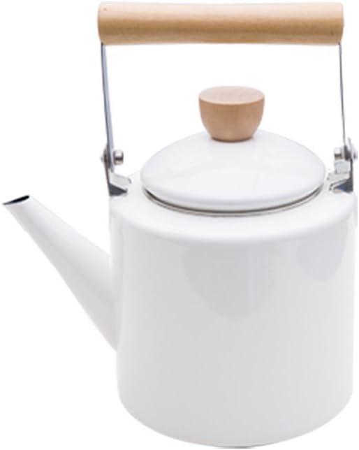 Cqq tetera Porcelana Tetera Esmalte Pot Kettle Cafetera Retro ...