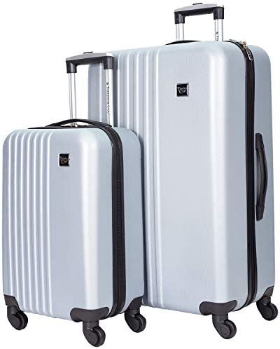 Travelers Club Cosmo Hardside Spinner Luggage, Silver, 2-Piece Set (20/28)