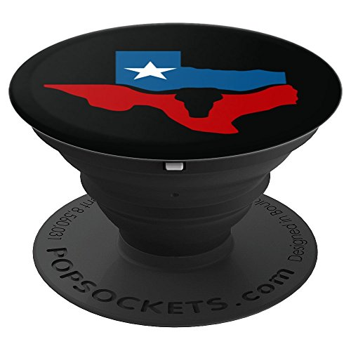 Texas State Flag Longhorn Silhouette - PopSockets Grip and Stand for Phones and Tablets ()