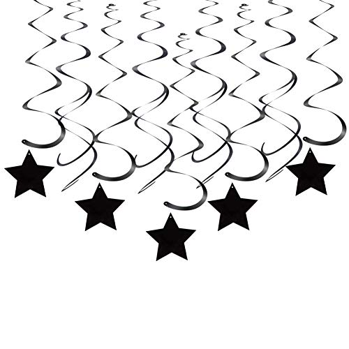 Black Star Hanging Swirl Decorations for Ceiling, Pack of 30]()