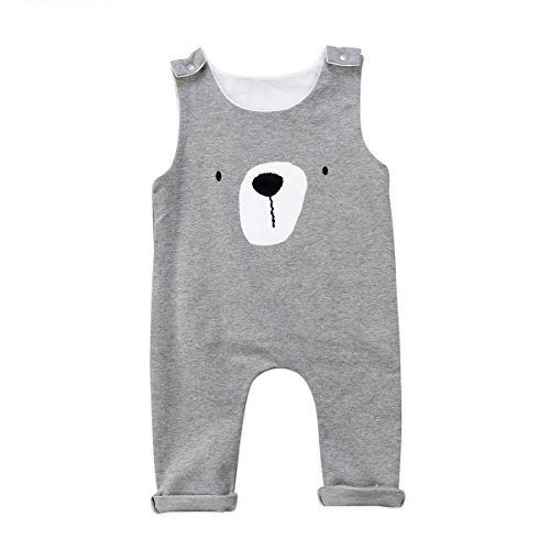Emmababy Newborn Infant Baby Boys Sleeveless Harem Romper Jumpsuit Outfits Overall Clothes One-Piece Bodysuit (Grey, 0~6M) ()