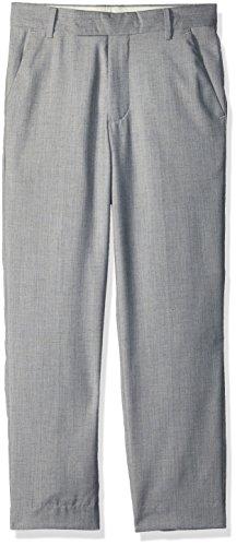 (Calvin Klein Big Boys' Flat Front Dress Pant, Textured Linen Grey, 12)