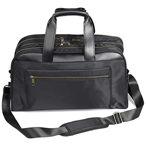 Large Briefcase Bag for Men, Expandable Double Compartment Lightweight Water Resistant with USB Charging Port