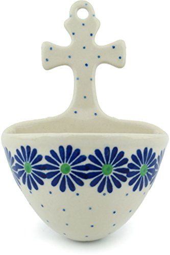 Polish Pottery Wall Pocket 5-inch Blue Daisy Chain