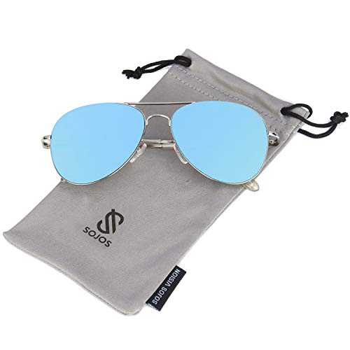 SOJOS Classic Aviator Mirrored Flat Lens Sunglasses Metal Frame with Spring Hinges SJ1030 with Silver Frame/Blue Mirrored Lens -