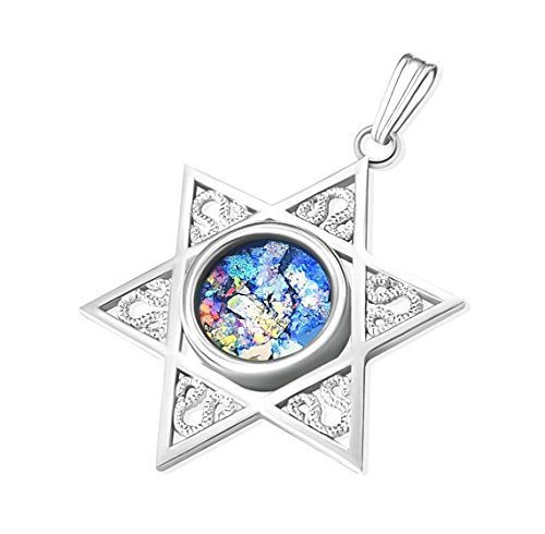 - Sterling Silver Gold Star of David Roman Glass Pendant Necklace