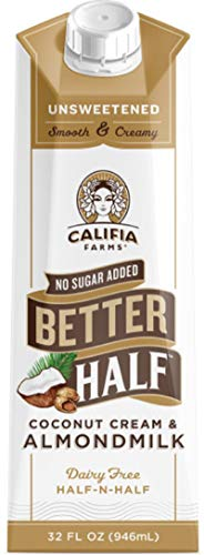 Califia Farms Unsweetened Better Half Coffee Creamer, 32 Fl Oz (Pack of 6) | Coconut Cream and Almondmilk | Half & Half | Dairy Free | Whole30 | Keto | Vegan | Plant Based | Nut Milk | Non-GMO (Best Way To Drink Almond Milk)