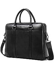 Bison Denim Leather Men's Laptop Bag Briefcase Handbag Messenger (W2942-Black)