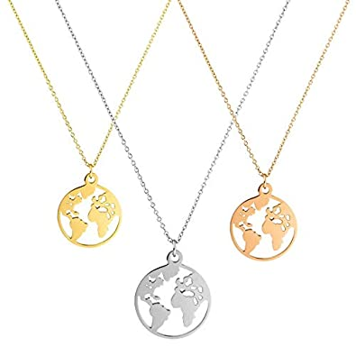 WORLD MAP Necklace/Kette in Gold, Silber, Rosé Gold Faye für Frauen ...
