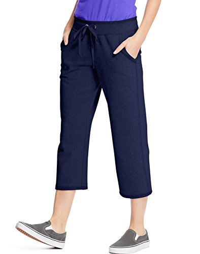 Hanes Women's French Terry Pocket Capri, Navy, XX-Large