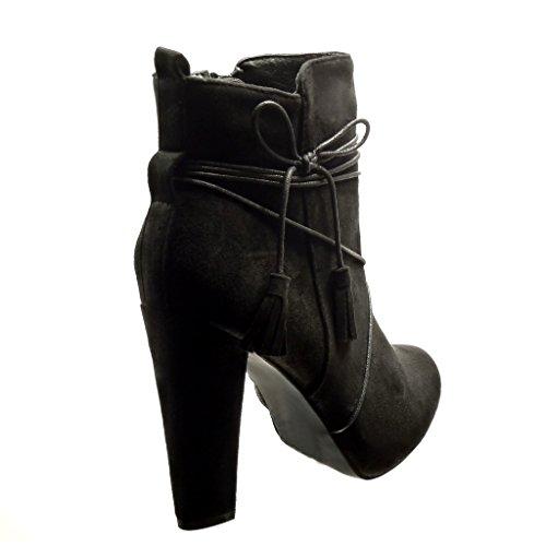 Angkorly - Chaussure Mode Bottine sexy femme pom-pom frange lacets Talon haut bloc 10 CM - Noir