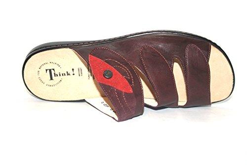 Think! - Zuecos de cuero para mujer - Rot (chianti/kombi 35)