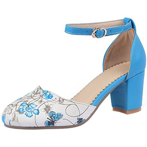 TAOFFEN Mujer Moda Boda Zaopatos Correa de Tobillo Hebilla Floral Tacon Ancho Sandalias Azul