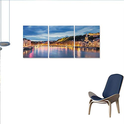 "Anniutwo European Canvas Wall Art Set View Saone River in Lyon City at Evening France Blue Hour Historic Buildings Wall Stickers 16""x32""x3pcs Multicolor"