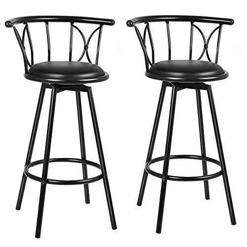 COSTWAY Bar Stools, Modern and Classic Rotatable Counter Pub PVC Leather Chairs, Round Padded Seat with Footrest & Back, Bar Pub Dining Room Kitchen Home Furniture (Black, Set of 2)