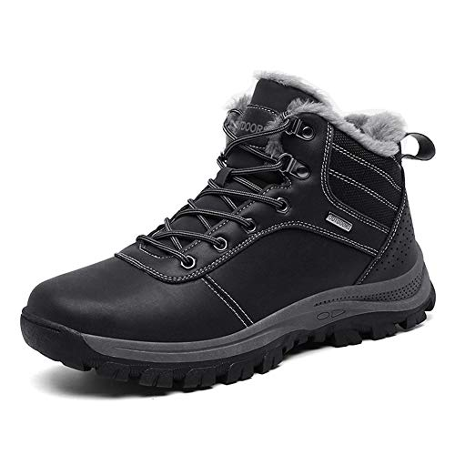 Mens Winter Snow Boots Outdoor Hiking Walking Boots Shoes Leather Warm Waterproof Non Slip Fur Lined-LPUK1927-Bl45 Black