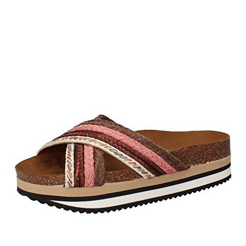 5 PRO JECT - Sandalias de vestir de tela para mujer Marrone/Rosa