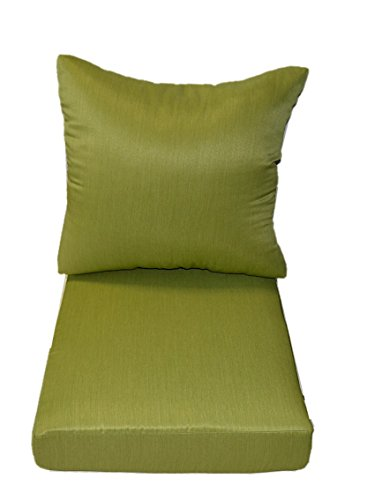Woven Twill Mojo Kiwi Green Fabric - Cushions for Patio Outdoor Deep Seating Furniture Chair - Choice of Size (SEAT CUSHION - 20.5''W X 22''D) by Resort Spa Home Decor