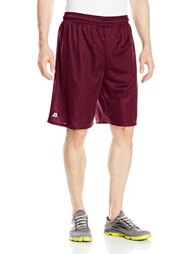 Russell Athletic Men's Mesh Shorts (No Pockets), Maroon, Medium (Athletic Baseball Uniforms Russell)