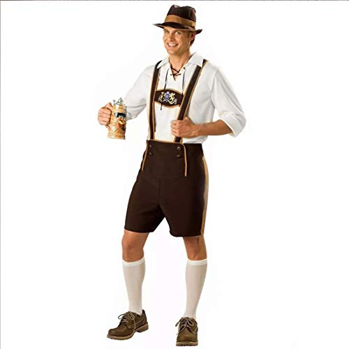FEESHOW Adult Men Mr Oktoberfest German Lederhosen Costumes