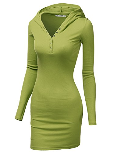 Doublju Womens Soft Cotton V-Neck Dress LIGHTGREEN,M (Womens Top Gun Fancy Dress)