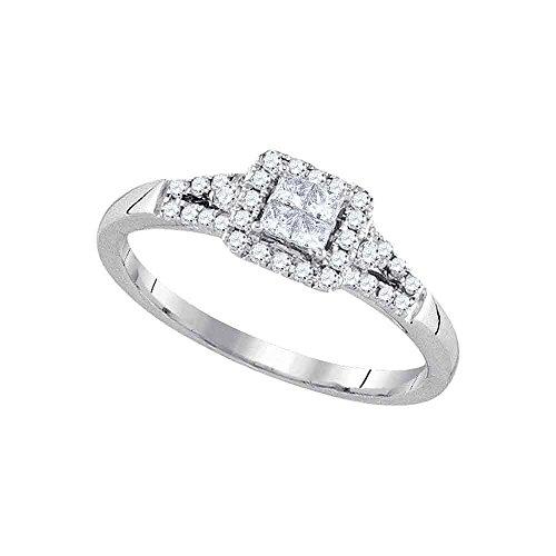 Square Halo Princess Diamond Engagement Ring Solid 14k White Gold Bridal Illusion Band Set Fancy 1/3 ctw
