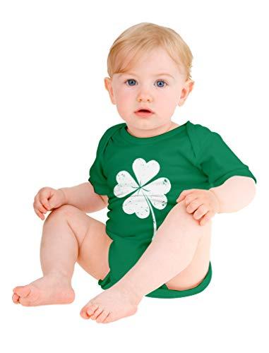 St. Patrick's Distressed Clover - Lucky Shamrock Baby Bodysuit Newborn Green