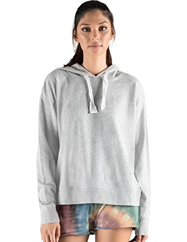 Rebel Canyon Young Womens Lightweight French Terry Long Sleeve Pullover Hoody With Stitching Details Large Lt  Grey Heather