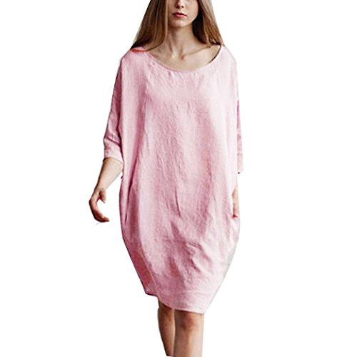 ge Cotton Linen Loose Midi Dress with Batwing Sleeve (M, Pink) (Vintage Caftan)