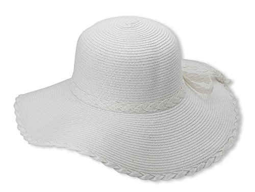 Debra Weitzner Women's Floppy Hat Straw Beach Sun Hat Braided Trim - White Ht Trim