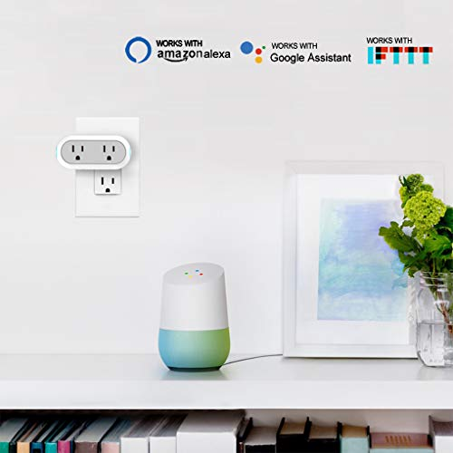 2-in-1 Wi-Fi Smart Plug Socket Dual Outlet Switch Wireless Works with Alexa Google Assistant IFTTT w/Energy Monitoring Timer Home, No Hub Required, 2 Pack by Mypre (Image #1)