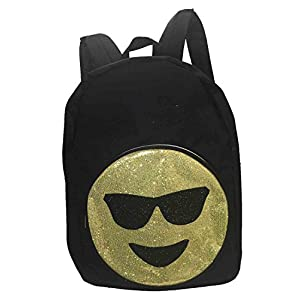 Emoji Glitter Smiley Face Sunglasses Canvas Backpack