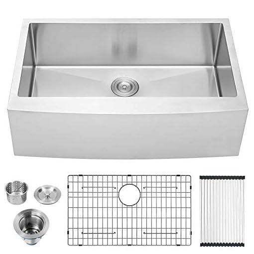Farmhouse Kitchen 33 Farm Sink – Lordear 33 inch Farmhouse Sink Apron Front 16 Gauge Stainless Steel Tight Radius Deep Single Bowl Farm… farmhouse kitchen sinks