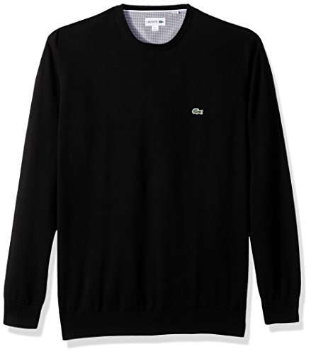 Lacoste Men's Crewneck Cotton Jersey Sweater with Green Croc, Black, XX-Large
