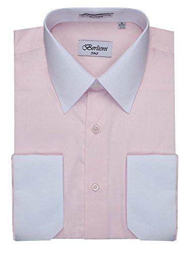 Men's Pink Two Tone Dress Shirt w/ Convertible Cuffs - Large 32 /33 - Mens Fancy Dress