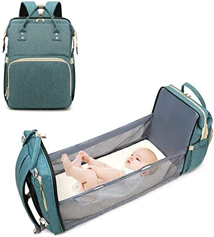 onegoodcar 3 in 1 Travel Bassinet Baby Diaper Bag with Changing Station, Portable Crib Baby Nappy Changing Bag for Newborn Toddler, Travel Crib Infant Sleeper, Baby Bag Bassinet with Mattress Green