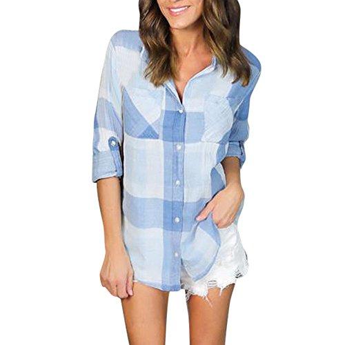 SKY La chaqueta del ms camisa a cuadros Long Sleeve Loose Blouse Casual Shirt Summer Tops T-Shirt Azul