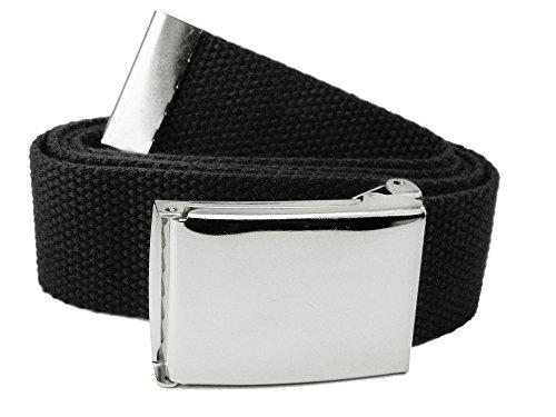 Men's 1.5 Polished Silver Flip Top Belt Buckle with Canvas Web Belt X-Large Black