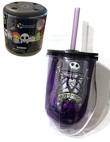 Jack's Drink Up Cup Nightmare Before Christmas Jack Skellington Master of Fright Goblet Up Tumbler Cup with lid and straw Purple + Bonus Mini Squishy NBC Character Figure -