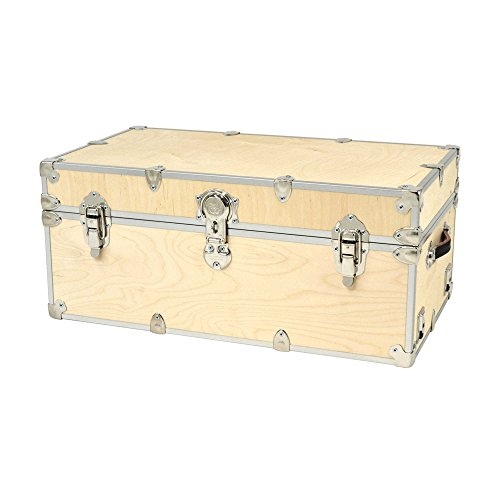 32'' Large Birch Unfinished Wooden Cube Storage Trunk with Removable Wheels by Rhino Trunk and Case