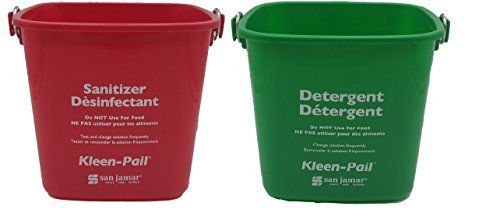 - Set of 2 San Jamar Kleen Pails, Red and Green, Detergent and Sanitizer Buckets with 100pk Gloves (3 Quart)