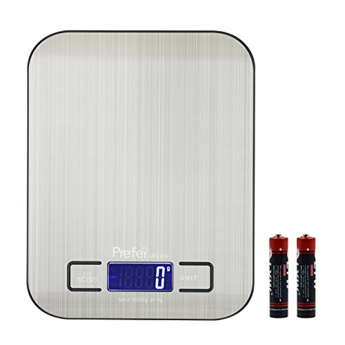 11lb x 0.05 oz Slim Digital Kitchen Scale Stainless Steel 5Kg x 1g Food Postal