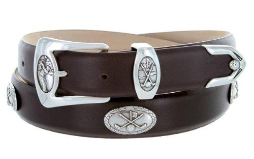 BC3109 - Men's Italian Calfskin Designer Dress Belt with Golf Conchos (36 Smooth Brown) (Brown Calfskin Belt)