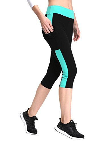 Neonysweets Womens Yoga Capri Tights Running Fitness Pants Leggings Black Aqua XL