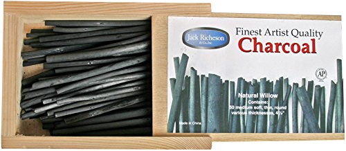 Willow Charcoal Sticks (Yarka Natural Willow Non-Toxic Medium Soft Round Thin Charcoal Stick, 4 in, Black, Pack of 50)